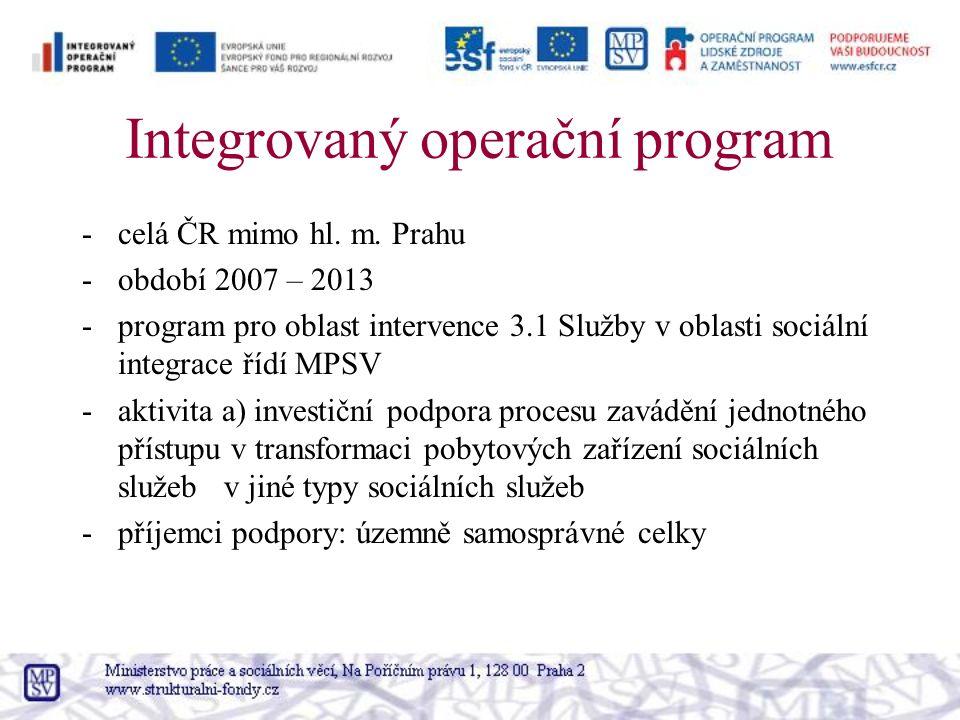 Integrovaný operační program -celá ČR mimo hl. m.