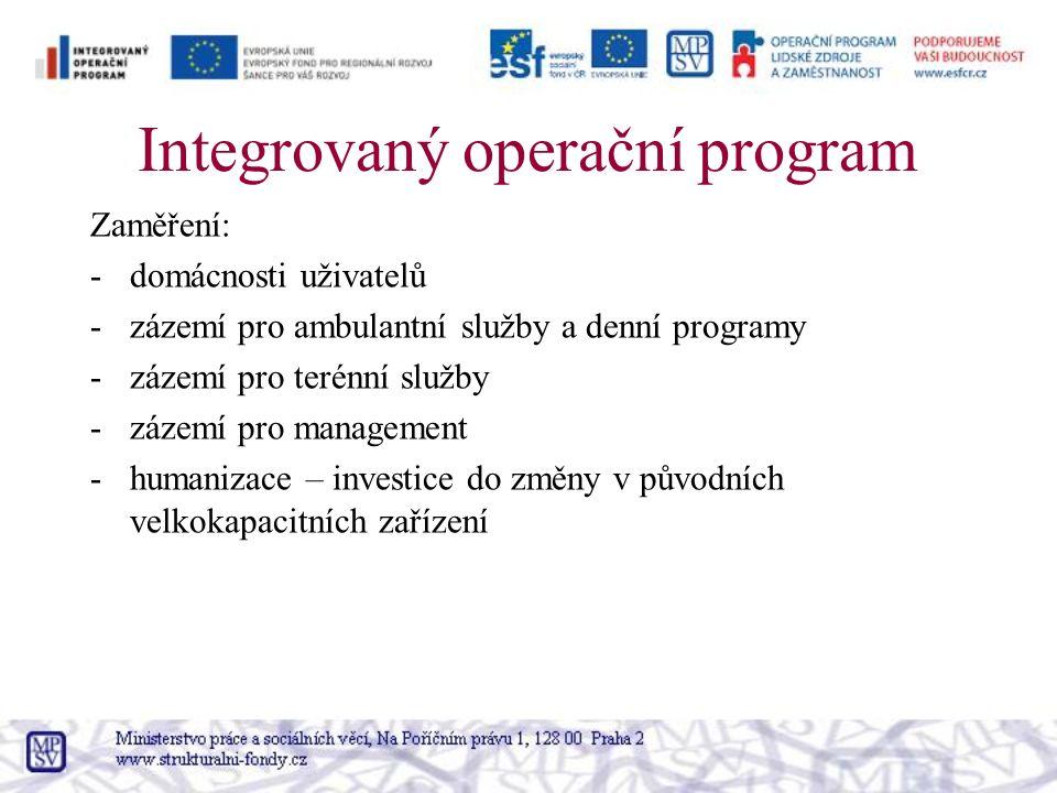 Integrovaný operační program Zaměření: -domácnosti uživatelů -zázemí pro ambulantní služby a denní programy -zázemí pro terénní služby -zázemí pro management -humanizace – investice do změny v původních velkokapacitních zařízení