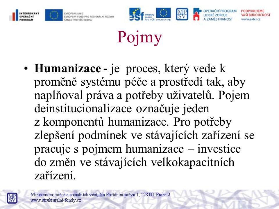 Pojmy Humanizace - je proces, který vede k proměně systému péče a prostředí tak, aby naplňoval práva a potřeby uživatelů.