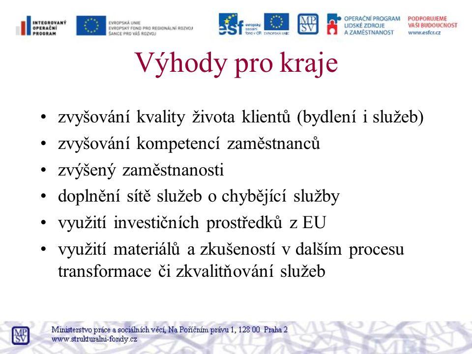Výhody pro kraje zvyšování kvality života klientů (bydlení i služeb) zvyšování kompetencí zaměstnanců zvýšený zaměstnanosti doplnění sítě služeb o chybějící služby využití investičních prostředků z EU využití materiálů a zkušeností v dalším procesu transformace či zkvalitňování služeb