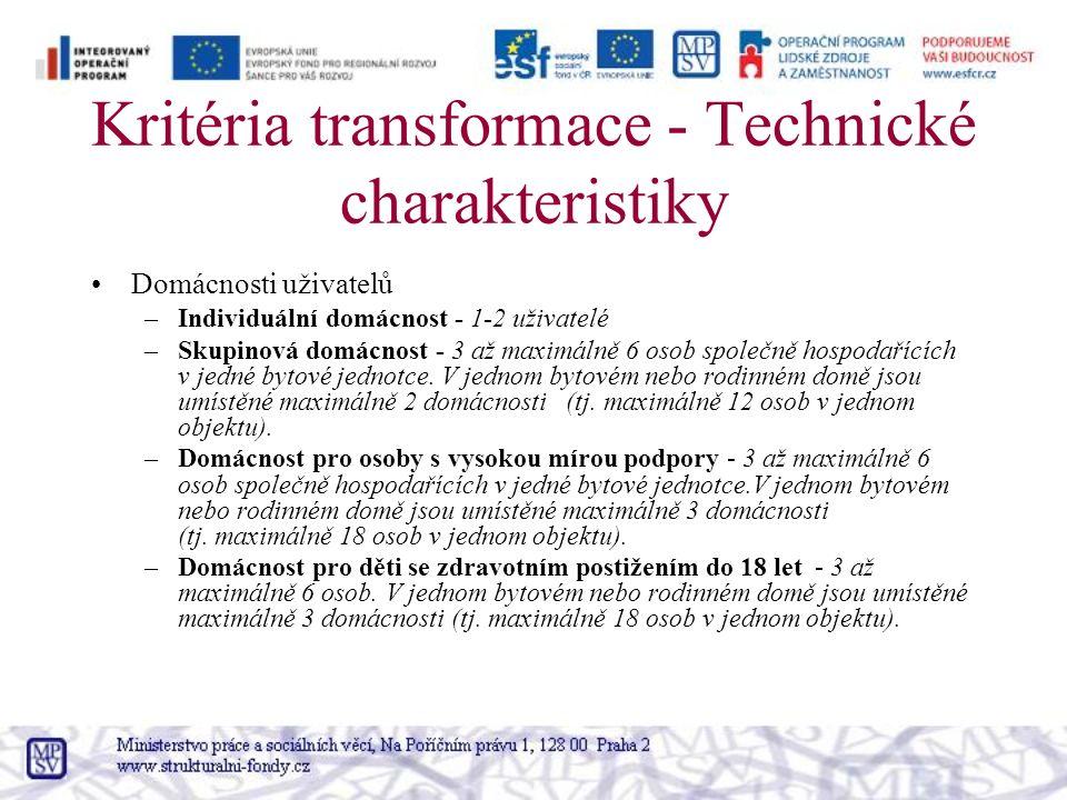 Kritéria transformace - Technické charakteristiky Domácnosti uživatelů –Individuální domácnost - 1-2 uživatelé –Skupinová domácnost - 3 až maximálně 6 osob společně hospodařících v jedné bytové jednotce.