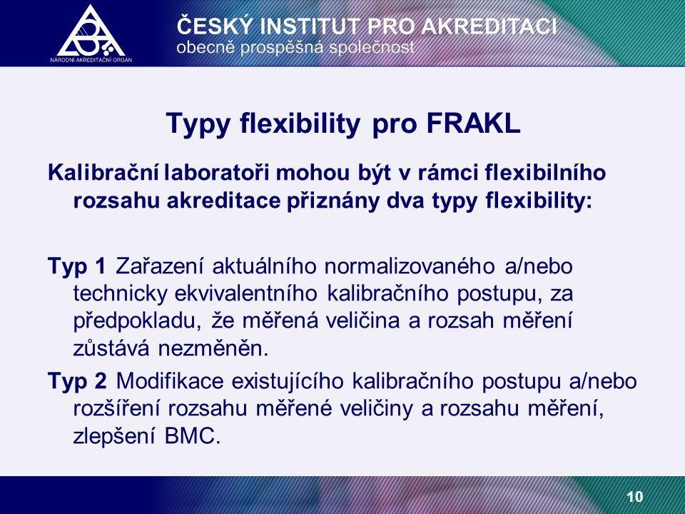 10 Typy flexibility pro FRAKL Kalibrační laboratoři mohou být v rámci flexibilního rozsahu akreditace přiznány dva typy flexibility: Typ 1Zařazení aktuálního normalizovaného a/nebo technicky ekvivalentního kalibračního postupu, za předpokladu, že měřená veličina a rozsah měření zůstává nezměněn.