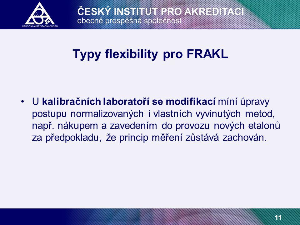 11 Typy flexibility pro FRAKL U kalibračních laboratoří se modifikací míní úpravy postupu normalizovaných i vlastních vyvinutých metod, např.