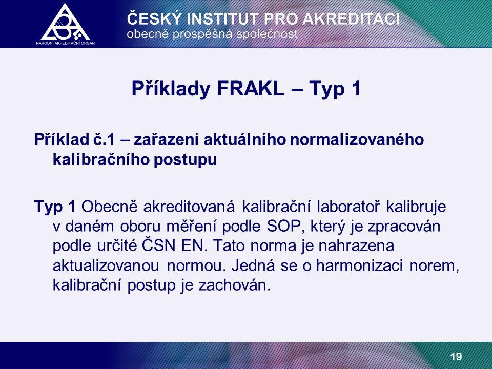 19 Příklady FRAKL – Typ 1 Příklad č.1 – zařazení aktuálního normalizovaného kalibračního postupu Typ 1 Obecně akreditovaná kalibrační laboratoř kalibruje v daném oboru měření podle SOP, který je zpracován podle určité ČSN EN.