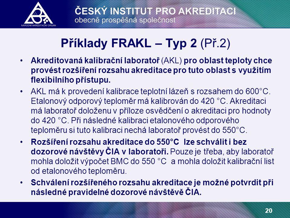20 Příklady FRAKL – Typ 2 (Př.2) Akreditovaná kalibrační laboratoř (AKL) pro oblast teploty chce provést rozšíření rozsahu akreditace pro tuto oblast s využitím flexibilního přístupu.