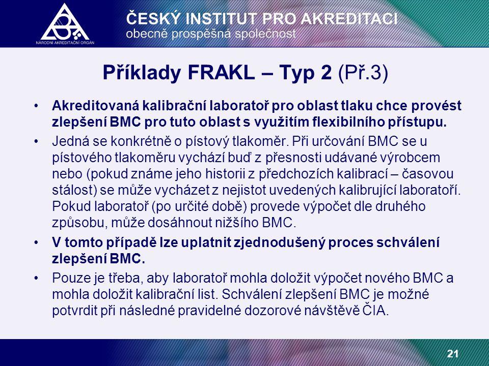 21 Příklady FRAKL – Typ 2 (Př.3) Akreditovaná kalibrační laboratoř pro oblast tlaku chce provést zlepšení BMC pro tuto oblast s využitím flexibilního přístupu.
