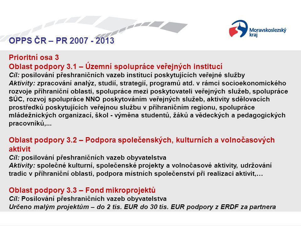 Seminář pro žadatele OPPS ČR-PR 2007 – 2013 OPPS ČR – PR 2007 - 2013 Prioritní osa 3 Oblast podpory 3.1 – Územní spolupráce veřejných institucí Cíl: p