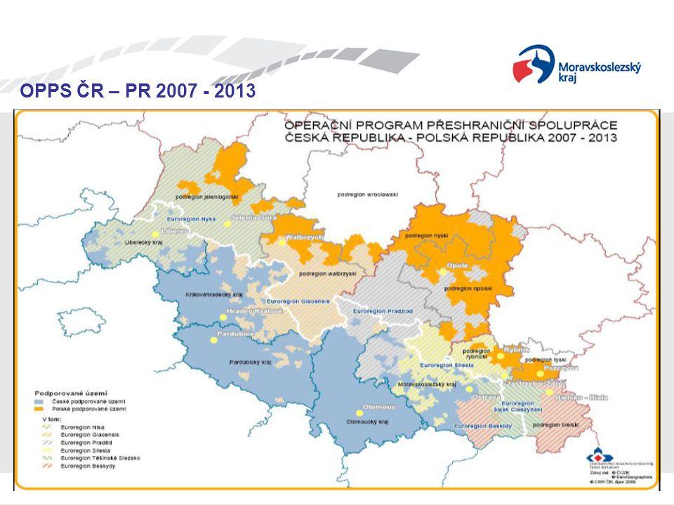 Seminář pro žadatele OPPS ČR-PR 2007 – 2013 OPPS ČR – PR 2007 - 2013 OPPS v kostce hranice spolufinancování na 85% ERDF ČR – 5 % ze SR, 10 % vlastní zdroje / PL – 15 % vlastní zdroje finanční rámec projektů – minimální podpora 30 tis.