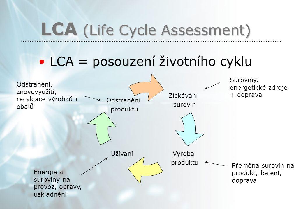 LCA (Life Cycle Assessment) LCA = posouzení životního cyklu Získávání surovin Výroba produktu Užívání Odstranění produktu Suroviny, energetické zdroje + doprava Přeměna surovin na produkt, balení, doprava Energie a suroviny na provoz, opravy, uskladnění Odstranění, znovuvyužití, recyklace výrobků i obalů