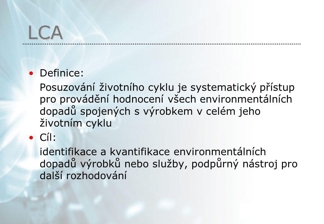 LCA Definice: Posuzování životního cyklu je systematický přístup pro provádění hodnocení všech environmentálních dopadů spojených s výrobkem v celém jeho životním cyklu Cíl: identifikace a kvantifikace environmentálních dopadů výrobků nebo služby, podpůrný nástroj pro další rozhodování Halo halo co