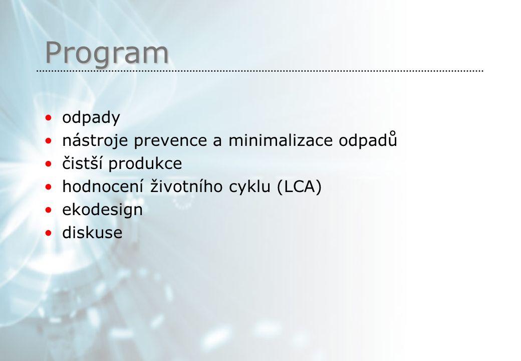 Program odpady nástroje prevence a minimalizace odpadů čistší produkce hodnocení životního cyklu (LCA) ekodesign diskuse