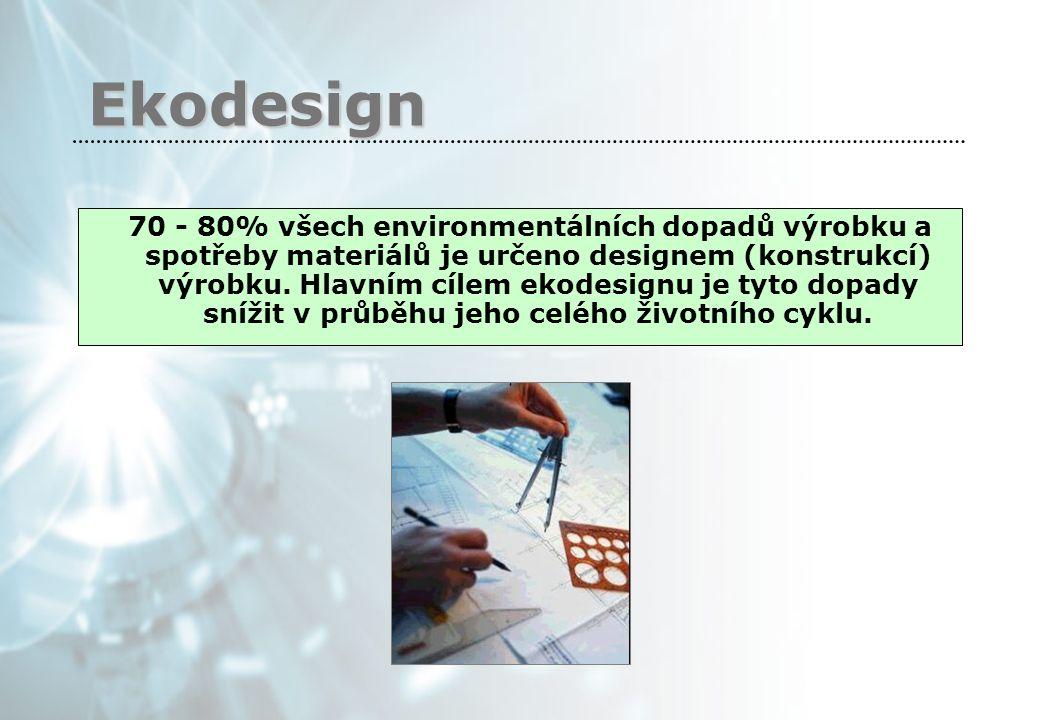 Ekodesign 70 - 80% všech environmentálních dopadů výrobku a spotřeby materiálů je určeno designem (konstrukcí) výrobku.