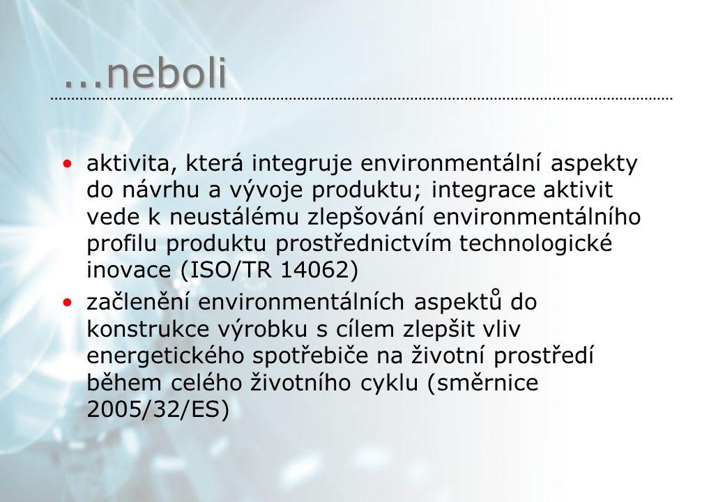 ...neboli aktivita, která integruje environmentální aspekty do návrhu a vývoje produktu; integrace aktivit vede k neustálému zlepšování environmentálního profilu produktu prostřednictvím technologické inovace (ISO/TR 14062) začlenění environmentálních aspektů do konstrukce výrobku s cílem zlepšit vliv energetického spotřebiče na životní prostředí během celého životního cyklu (směrnice 2005/32/ES)