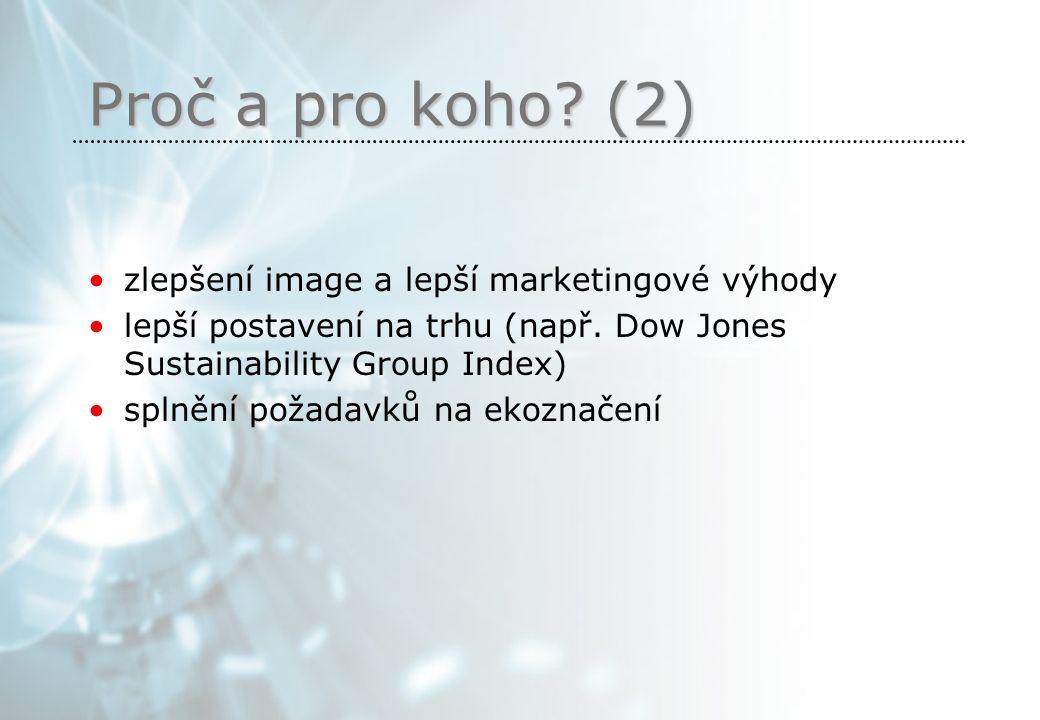 Proč a pro koho. (2) zlepšení image a lepší marketingové výhody lepší postavení na trhu (např.
