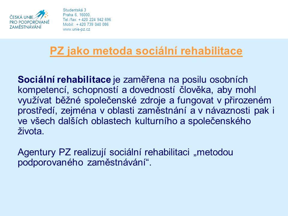 PZ jako metoda sociální rehabilitace Sociální rehabilitace je zaměřena na posilu osobních kompetencí, schopností a dovedností člověka, aby mohl využívat běžné společenské zdroje a fungovat v přirozeném prostředí, zejména v oblasti zaměstnání a v návaznosti pak i ve všech dalších oblastech kulturního a společenského života.