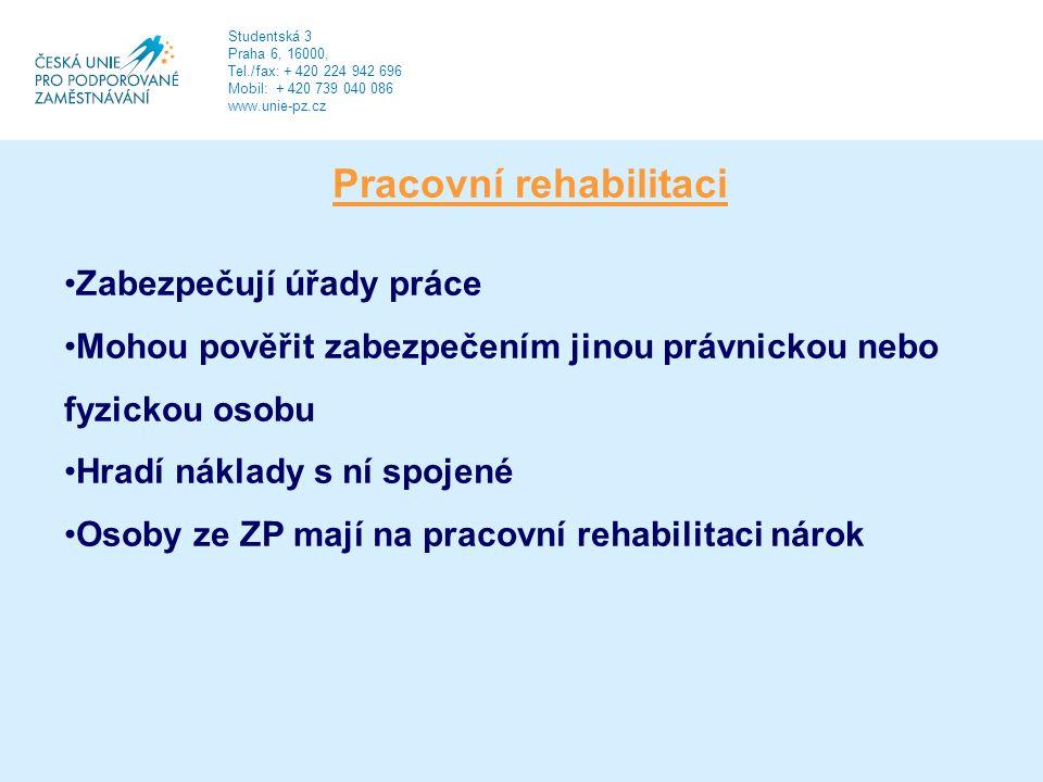 Pracovní rehabilitaci Zabezpečují úřady práce Mohou pověřit zabezpečením jinou právnickou nebo fyzickou osobu Hradí náklady s ní spojené Osoby ze ZP mají na pracovní rehabilitaci nárok Studentská 3 Praha 6, 16000, Tel./fax: + 420 224 942 696 Mobil: + 420 739 040 086 www.unie-pz.cz