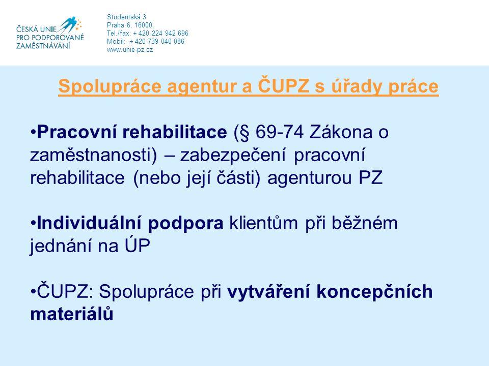 Spolupráce agentur a ČUPZ s úřady práce Pracovní rehabilitace (§ 69-74 Zákona o zaměstnanosti) – zabezpečení pracovní rehabilitace (nebo její části) agenturou PZ Individuální podpora klientům při běžném jednání na ÚP ČUPZ: Spolupráce při vytváření koncepčních materiálů Studentská 3 Praha 6, 16000, Tel./fax: + 420 224 942 696 Mobil: + 420 739 040 086 www.unie-pz.cz