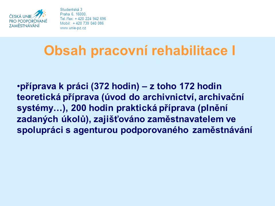 Obsah pracovní rehabilitace I příprava k práci (372 hodin) – z toho 172 hodin teoretická příprava (úvod do archivnictví, archivační systémy…), 200 hodin praktická příprava (plnění zadaných úkolů), zajišťováno zaměstnavatelem ve spolupráci s agenturou podporovaného zaměstnávání Studentská 3 Praha 6, 16000, Tel./fax: + 420 224 942 696 Mobil: + 420 739 040 086 www.unie-pz.cz