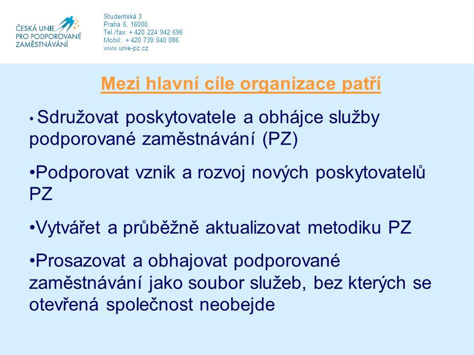 Mezi hlavní cíle organizace patří Sdružovat poskytovatele a obhájce služby podporované zaměstnávání (PZ) Podporovat vznik a rozvoj nových poskytovatelů PZ Vytvářet a průběžně aktualizovat metodiku PZ Prosazovat a obhajovat podporované zaměstnávání jako soubor služeb, bez kterých se otevřená společnost neobejde Studentská 3 Praha 6, 16000, Tel./fax: + 420 224 942 696 Mobil: + 420 739 040 086 www.unie-pz.cz