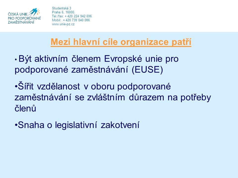 Mezi hlavní cíle organizace patří Být aktivním členem Evropské unie pro podporované zaměstnávání (EUSE) Šířit vzdělanost v oboru podporované zaměstnávání se zvláštním důrazem na potřeby členů Snaha o legislativní zakotvení Studentská 3 Praha 6, 16000, Tel./fax: + 420 224 942 696 Mobil: + 420 739 040 086 www.unie-pz.cz