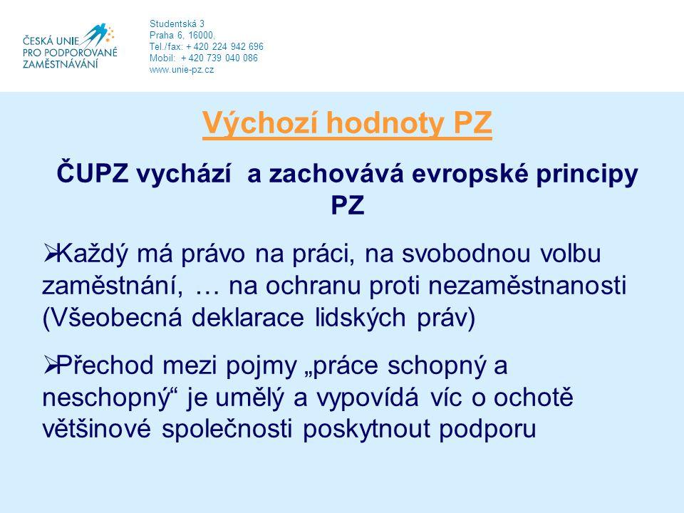 """Výchozí hodnoty PZ ČUPZ vychází a zachovává evropské principy PZ  Každý má právo na práci, na svobodnou volbu zaměstnání, … na ochranu proti nezaměstnanosti (Všeobecná deklarace lidských práv)  Přechod mezi pojmy """"práce schopný a neschopný je umělý a vypovídá víc o ochotě většinové společnosti poskytnout podporu Studentská 3 Praha 6, 16000, Tel./fax: + 420 224 942 696 Mobil: + 420 739 040 086 www.unie-pz.cz"""