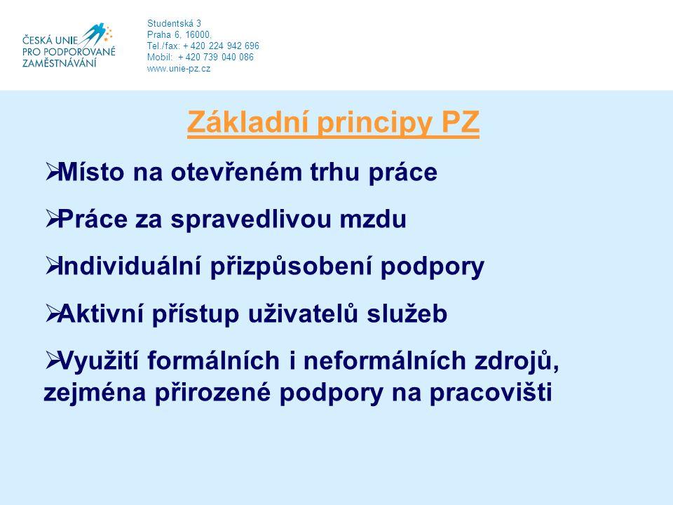 Studentská 3 Praha 6, 16000, Tel./fax: + 420 224 942 696 Mobil: + 420 739 040 086 www.unie-pz.cz Základní principy PZ  Místo na otevřeném trhu práce  Práce za spravedlivou mzdu  Individuální přizpůsobení podpory  Aktivní přístup uživatelů služeb  Využití formálních i neformálních zdrojů, zejména přirozené podpory na pracovišti