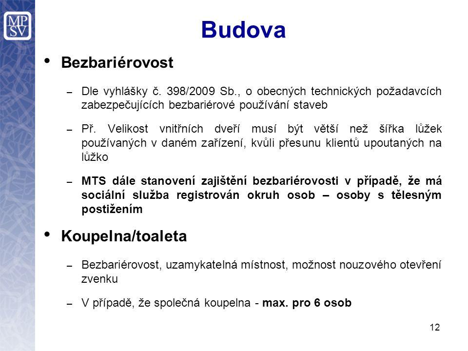 Budova Bezbariérovost – Dle vyhlášky č.