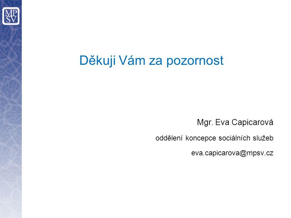 Děkuji Vám za pozornost Mgr. Eva Capicarová oddělení koncepce sociálních služeb eva.capicarova@mpsv.cz