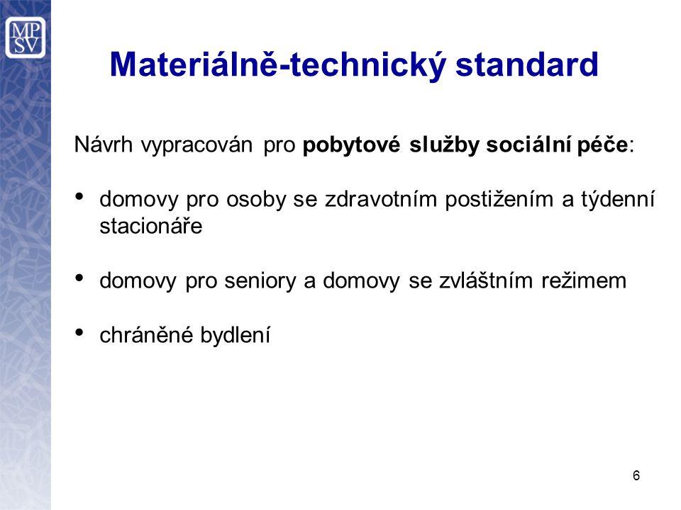 Materiálně-technický standard Návrh vypracován pro pobytové služby sociální péče: domovy pro osoby se zdravotním postižením a týdenní stacionáře domov