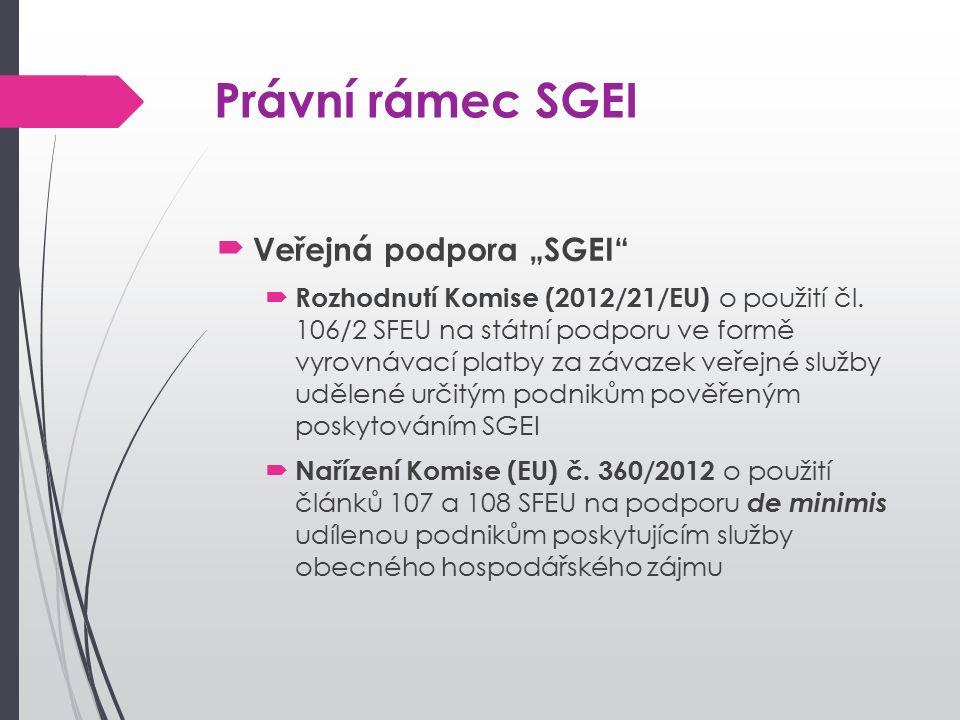 """Právní rámec SGEI Veřejná podpora """"SGEI  Rozhodnutí Komise (2012/21/EU) o použití čl."""