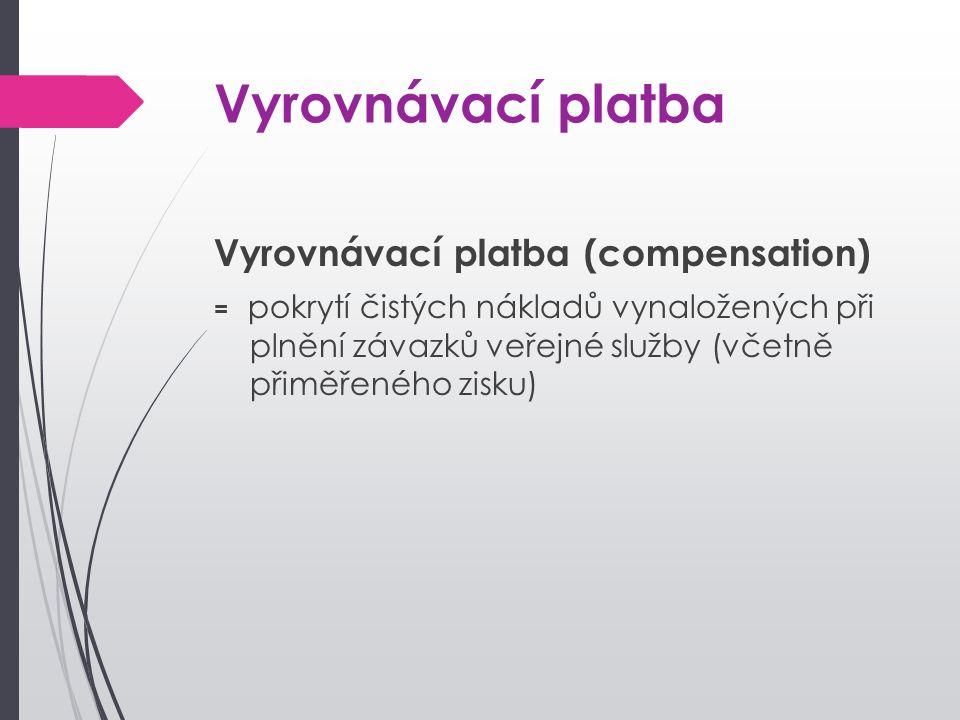 Vyrovnávací platba Vyrovnávací platba (compensation) = pokrytí čistých nákladů vynaložených při plnění závazků veřejné služby (včetně přiměřeného zisku)