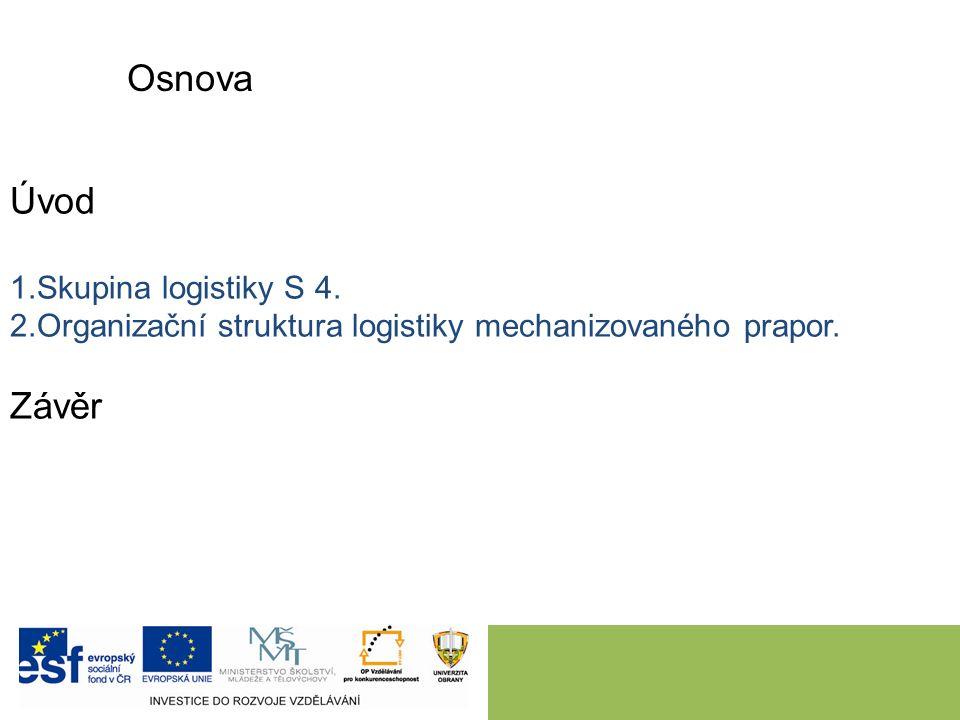 Osnova Úvod 1.Skupina logistiky S 4. 2.Organizační struktura logistiky mechanizovaného prapor.