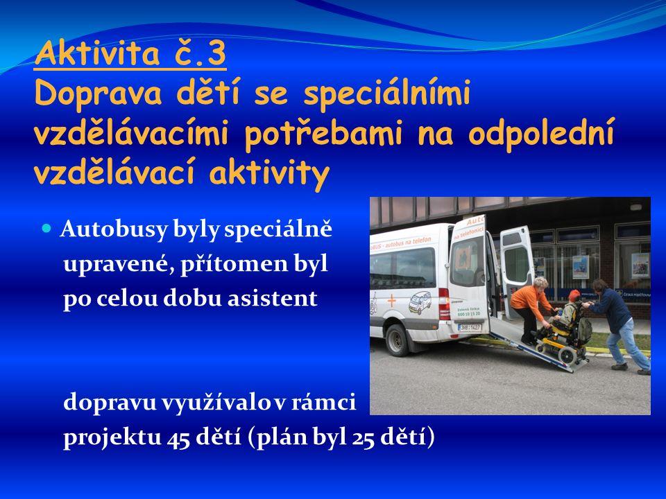 Aktivita č.3 Doprava dětí se speciálními vzdělávacími potřebami na odpolední vzdělávací aktivity Autobusy byly speciálně upravené, přítomen byl po celou dobu asistent dopravu využívalo v rámci projektu 45 dětí (plán byl 25 dětí)