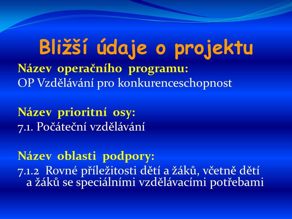 Bližší údaje o projektu Název operačního programu: OP Vzdělávání pro konkurenceschopnost Název prioritní osy: 7.1.
