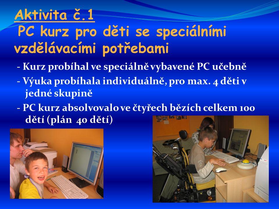 Aktivita č.1 PC kurz pro děti se speciálními vzdělávacími potřebami - Kurz probíhal ve speciálně vybavené PC učebně - Výuka probíhala individuálně, pro max.