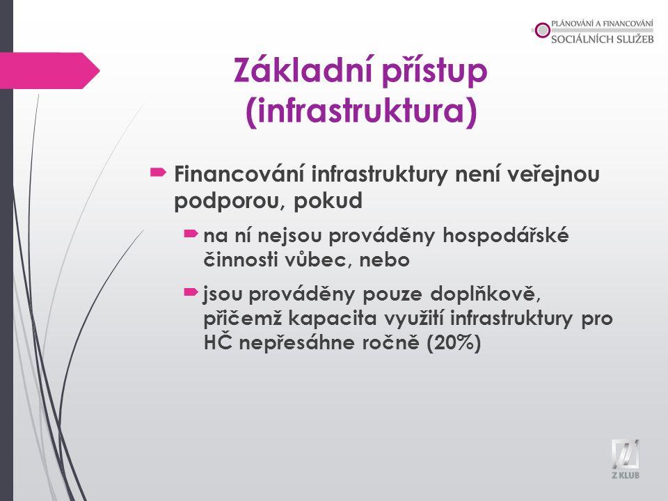 Základní přístup (infrastruktura) Financování infrastruktury není veřejnou podporou, pokud na ní nejsou prováděny hospodářské činnosti vůbec, nebo jsou prováděny pouze doplňkově, přičemž kapacita využití infrastruktury pro HČ nepřesáhne ročně (20%)