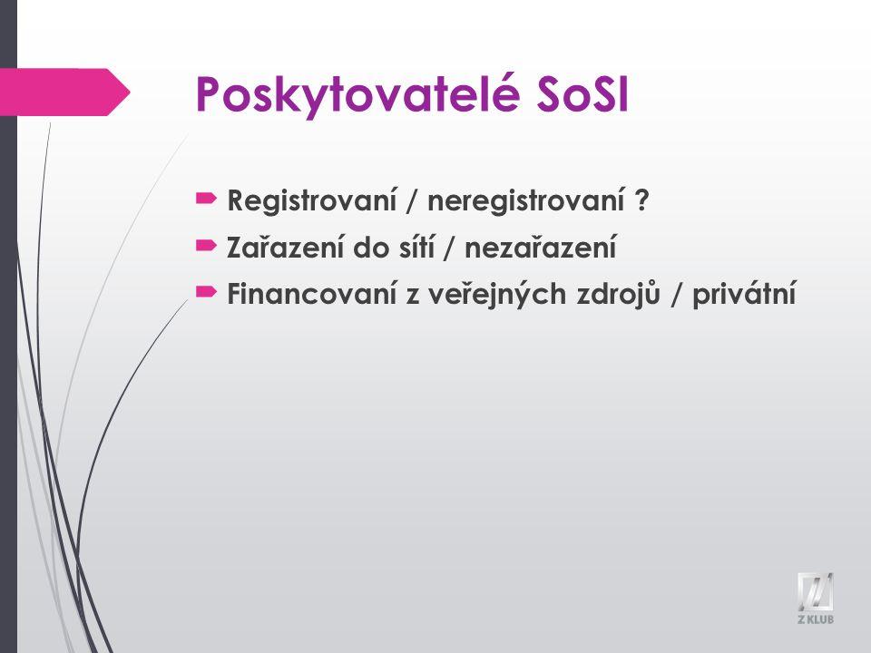 Poskytovatelé SoSl Registrovaní / neregistrovaní .