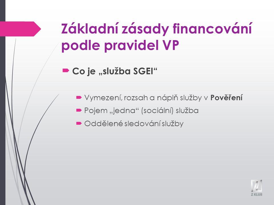 """Základní zásady financování podle pravidel VP Co je """"služba SGEI  Vymezení, rozsah a náplň služby v Pověření  Pojem """"jedna (sociální) služba  Oddělené sledování služby"""