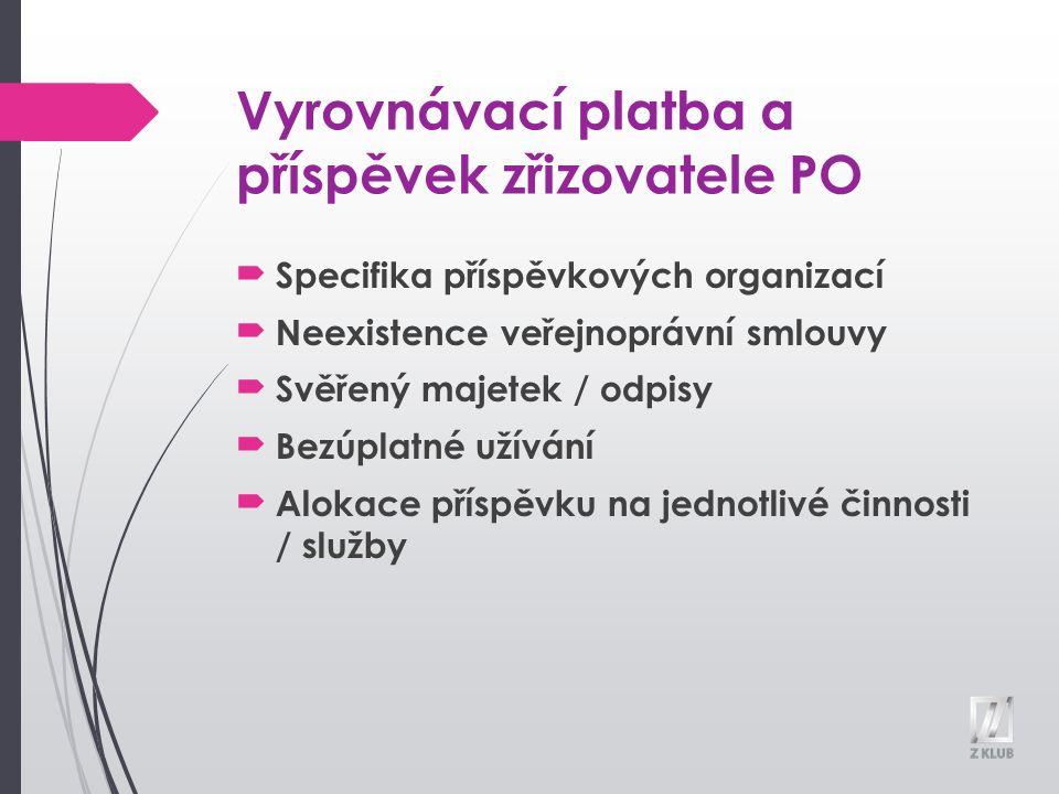 Vyrovnávací platba a příspěvek zřizovatele PO Specifika příspěvkových organizací Neexistence veřejnoprávní smlouvy Svěřený majetek / odpisy Bezúplatné užívání Alokace příspěvku na jednotlivé činnosti / služby
