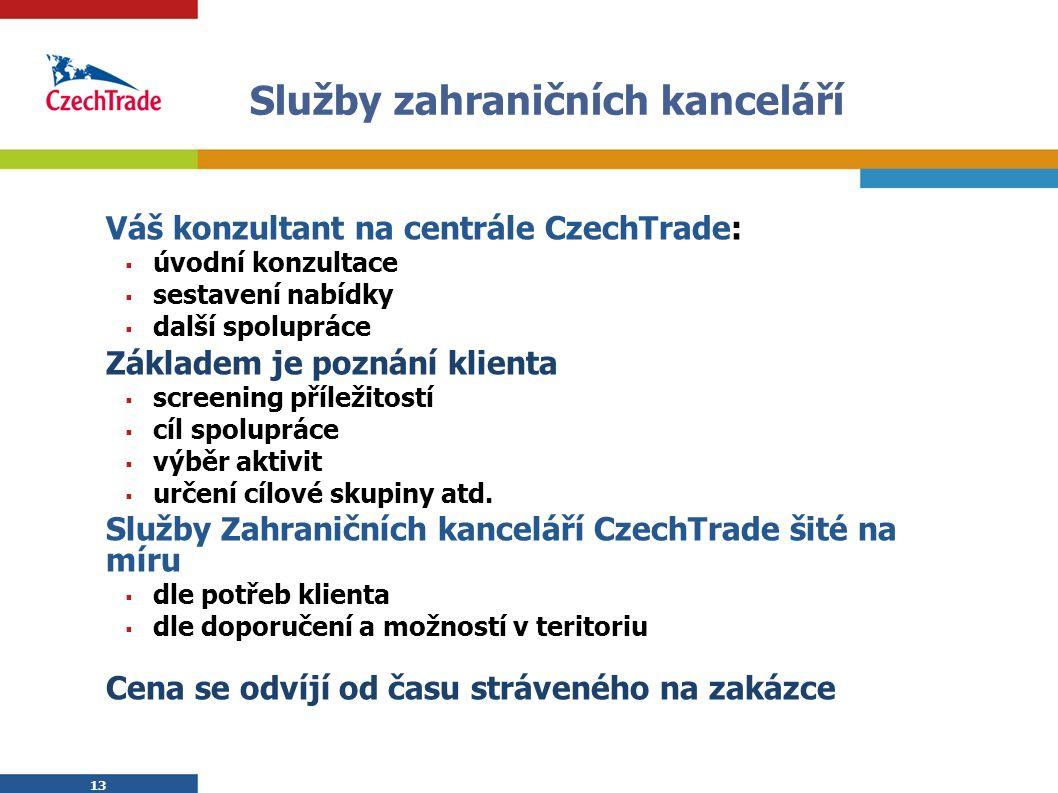 13 Služby zahraničních kanceláří Váš konzultant na centrále CzechTrade:  úvodní konzultace  sestavení nabídky  další spolupráce Základem je poznání