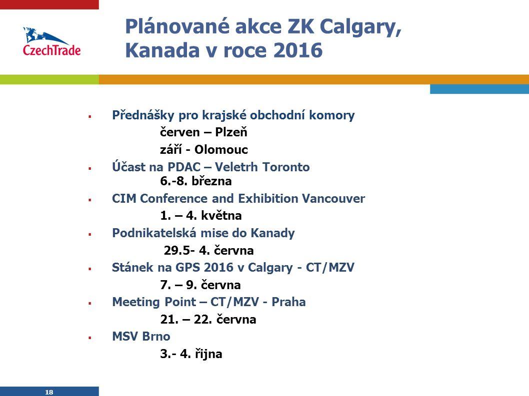 18 Plánované akce ZK Calgary, Kanada v roce 2016  Přednášky pro krajské obchodní komory červen – Plzeň září - Olomouc  Účast na PDAC – Veletrh Toronto 6.-8.