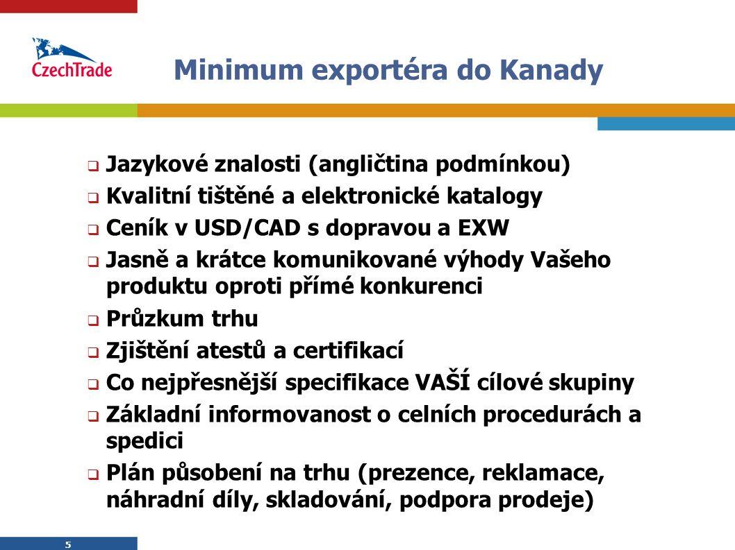 5 5 Minimum exportéra do Kanady  Jazykové znalosti (angličtina podmínkou)  Kvalitní tištěné a elektronické katalogy  Ceník v USD/CAD s dopravou a EXW  Jasně a krátce komunikované výhody Vašeho produktu oproti přímé konkurenci  Průzkum trhu  Zjištění atestů a certifikací  Co nejpřesnější specifikace VAŠÍ cílové skupiny  Základní informovanost o celních procedurách a spedici  Plán působení na trhu (prezence, reklamace, náhradní díly, skladování, podpora prodeje)