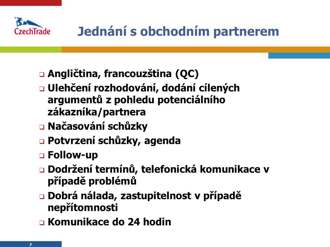 7 7 Jednání s obchodním partnerem  Angličtina, francouzština (QC)  Ulehčení rozhodování, dodání cílených argumentů z pohledu potenciálního zákazníka/partnera  Načasování schůzky  Potvrzení schůzky, agenda  Follow-up  Dodržení termínů, telefonická komunikace v případě problémů  Dobrá nálada, zastupitelnost v případě nepřítomnosti  Komunikace do 24 hodin