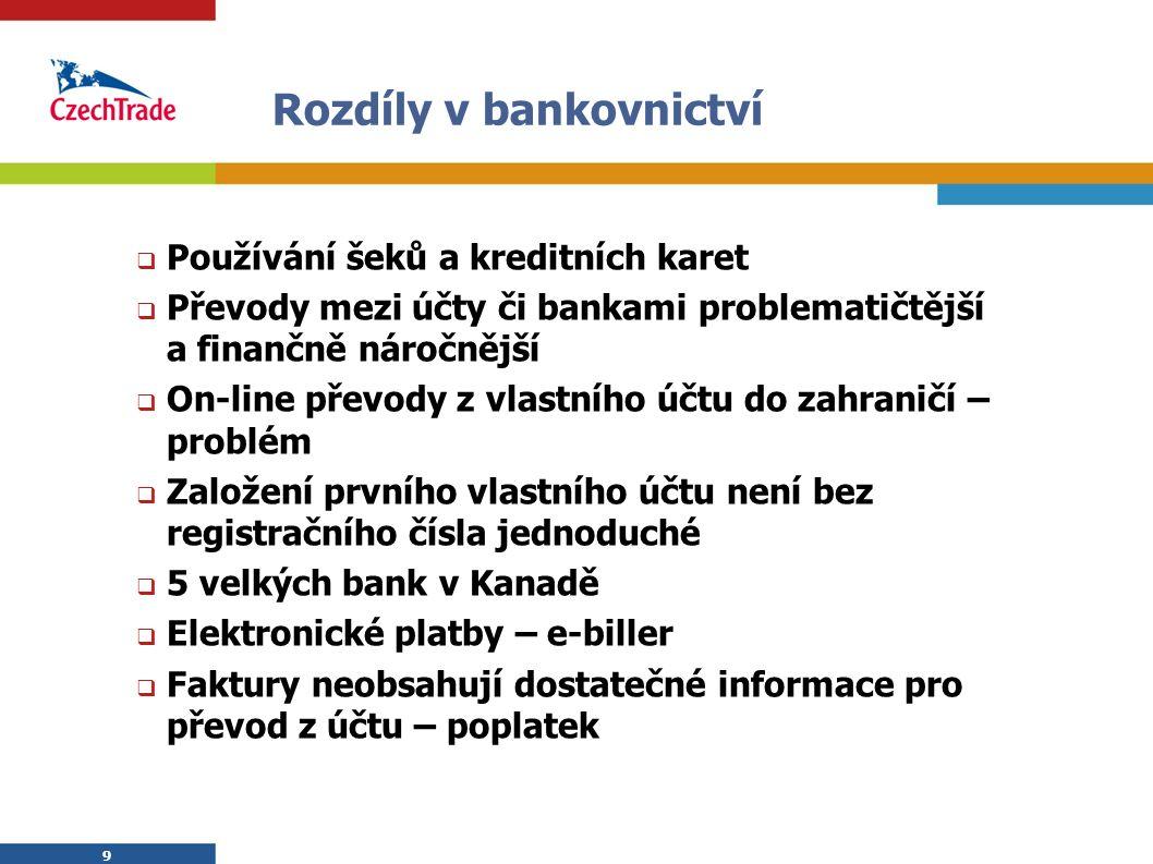 9 9 Rozdíly v bankovnictví  Používání šeků a kreditních karet  Převody mezi účty či bankami problematičtější a finančně náročnější  On-line převody