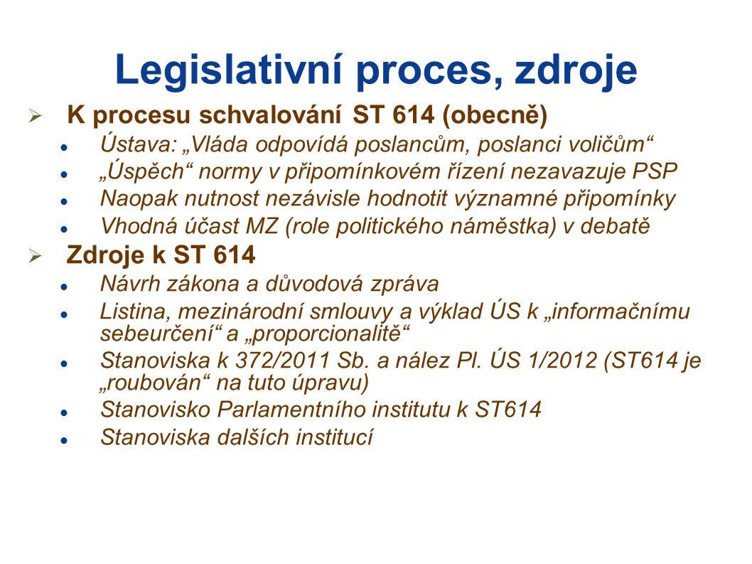 """Legislativní proces, zdroje  K procesu schvalování ST 614 (obecně) Ústava: """"Vláda odpovídá poslancům, poslanci voličům """"Úspěch normy v připomínkovém řízení nezavazuje PSP Naopak nutnost nezávisle hodnotit významné připomínky Vhodná účast MZ (role politického náměstka) v debatě  Zdroje k ST 614 Návrh zákona a důvodová zpráva Listina, mezinárodní smlouvy a výklad ÚS k """"informačnímu sebeurčení a """"proporcionalitě Stanoviska k 372/2011 Sb."""