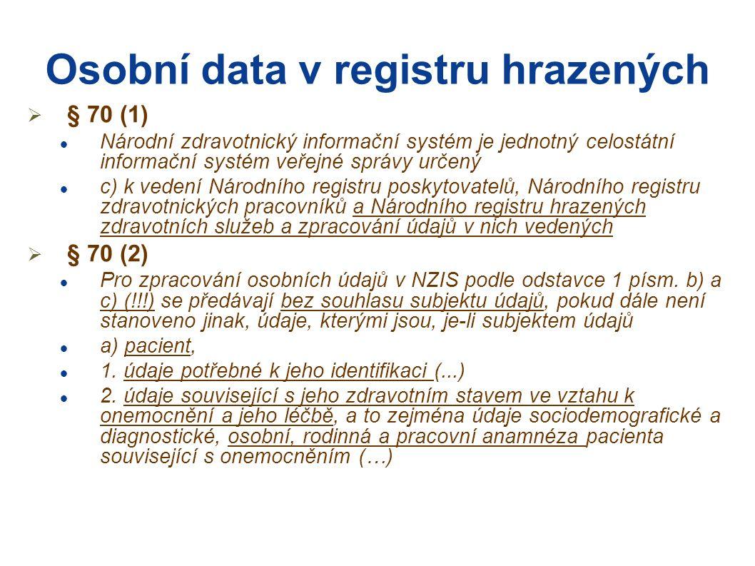 Osobní data v registru hrazených  § 70 (1) Národní zdravotnický informační systém je jednotný celostátní informační systém veřejné správy určený c) k vedení Národního registru poskytovatelů, Národního registru zdravotnických pracovníků a Národního registru hrazených zdravotních služeb a zpracování údajů v nich vedených  § 70 (2) Pro zpracování osobních údajů v NZIS podle odstavce 1 písm.