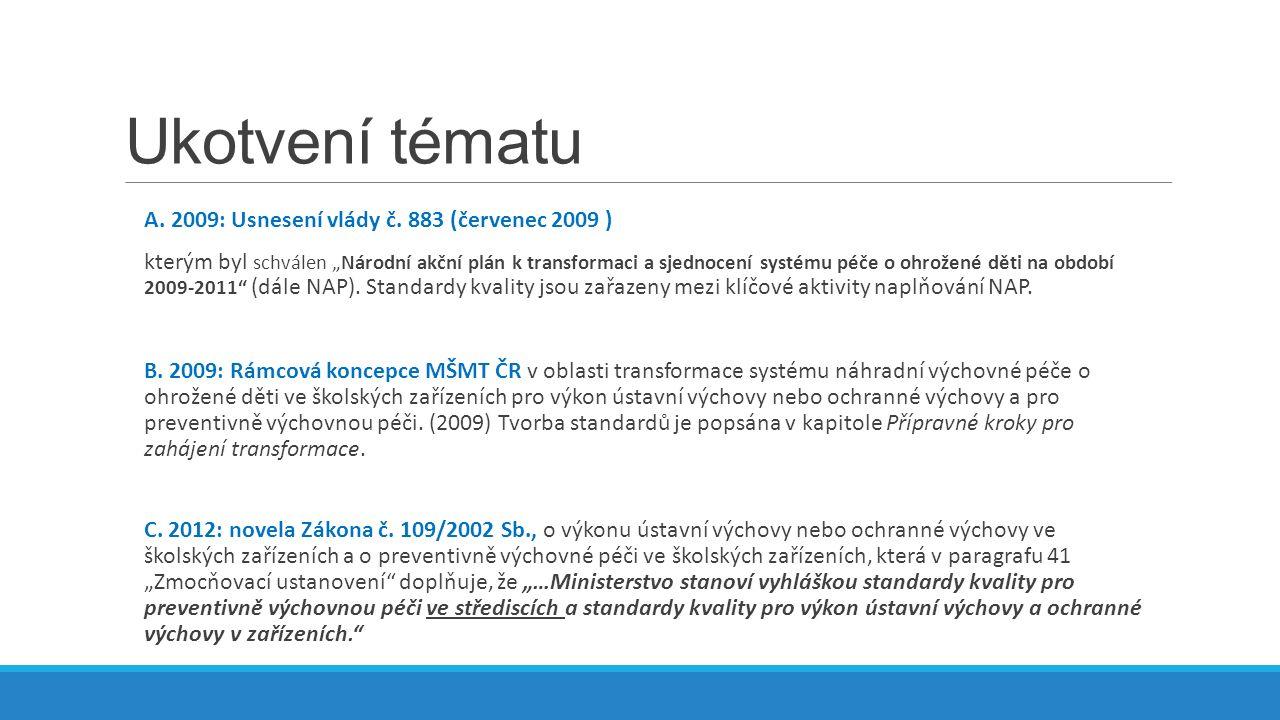 Ukotvení tématu A. 2009: Usnesení vlády č.