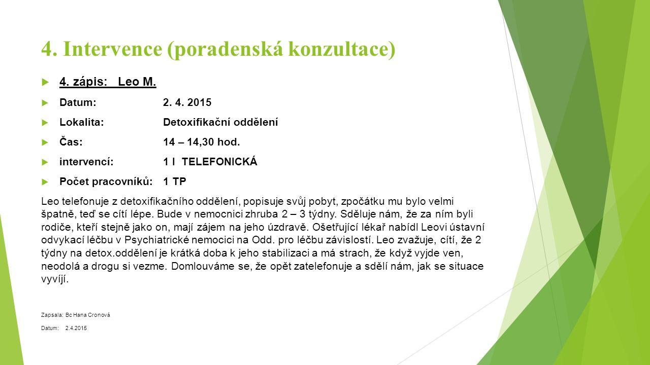 4. Intervence (poradenská konzultace)  4. zápis: Leo M.