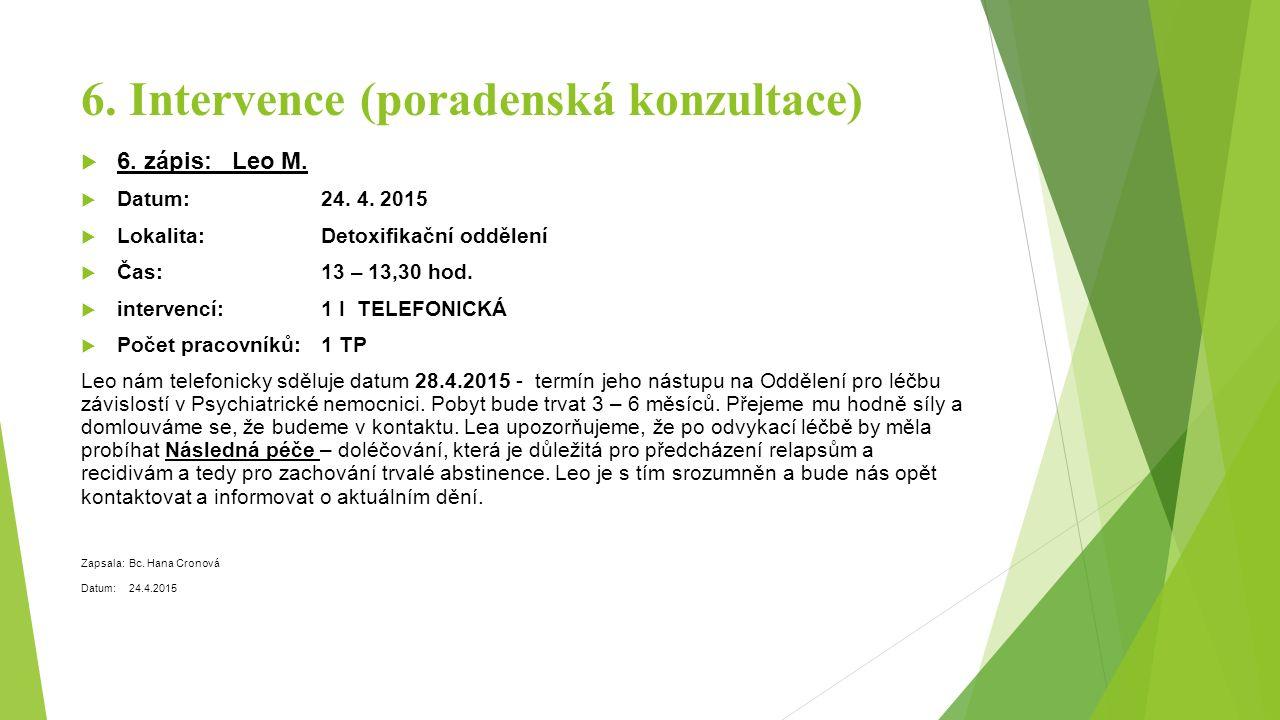 6. Intervence (poradenská konzultace)  6. zápis: Leo M.  Datum: 24. 4. 2015  Lokalita: Detoxifikační oddělení  Čas: 13 – 13,30 hod.  intervencí: