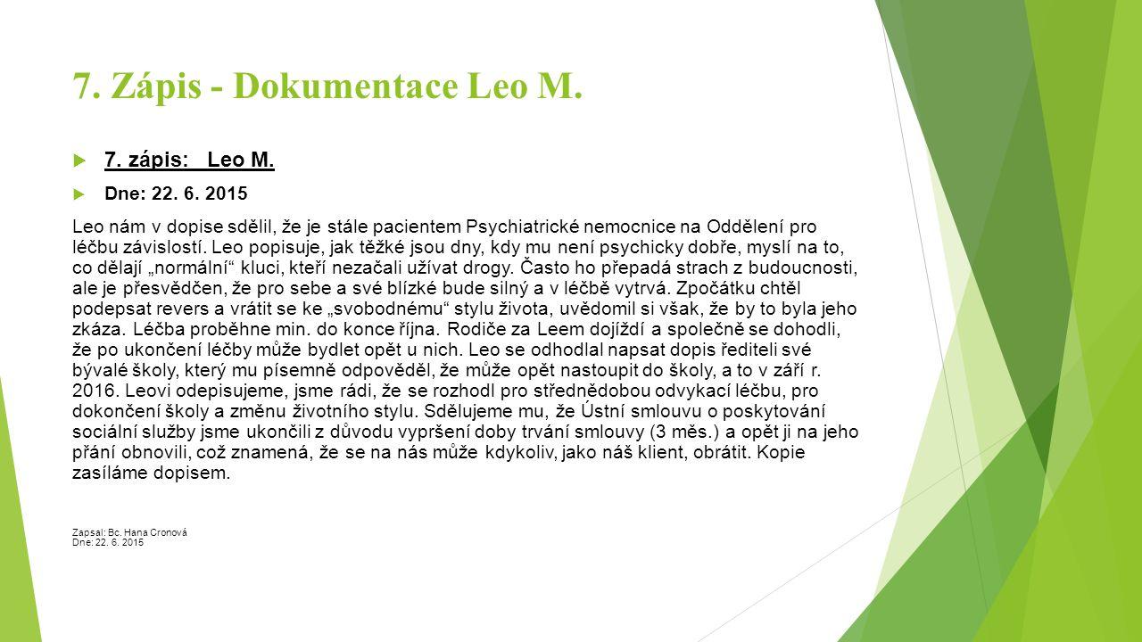 7. Zápis - Dokumentace Leo M.  7. zápis: Leo M.  Dne: 22. 6. 2015 Leo nám v dopise sdělil, že je stále pacientem Psychiatrické nemocnice na Oddělení